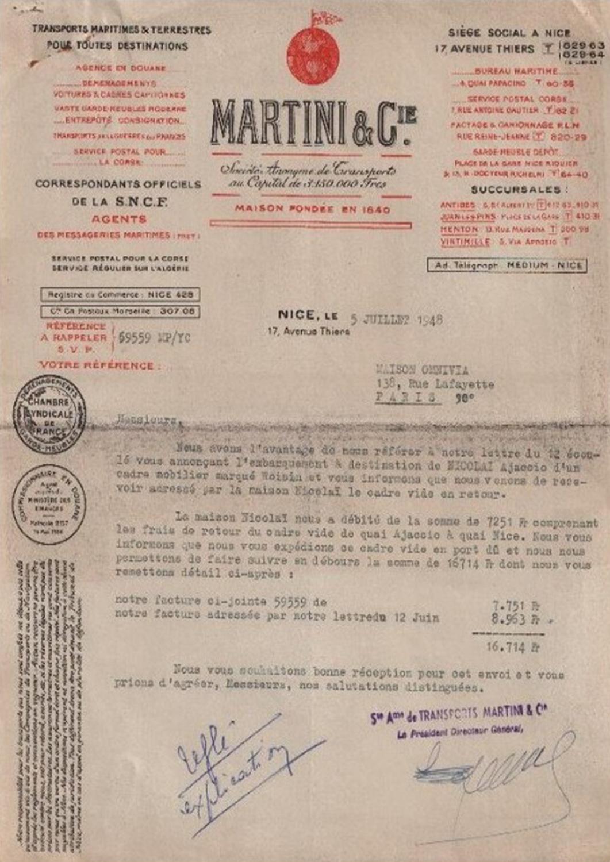 Lettre datée du 5 juillet 1948